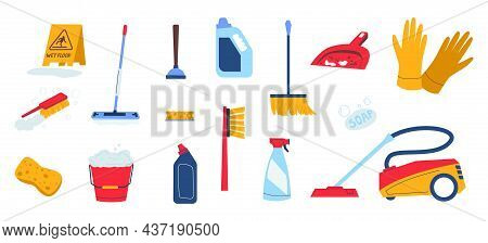 Cleaning Supplies. Doodle Household Tools And Chemistry. Bucket And Gloves. Vacuum Cleaner. Mop Or B