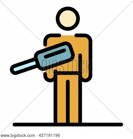 Scan Airport Person Icon. Outline Scan Airport Person Vector Icon Color Flat Isolated
