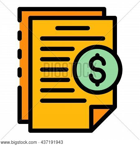 Crowdfunding Contract Icon. Outline Crowdfunding Contract Vector Icon Color Flat Isolated