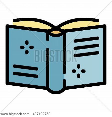 Open Book Cover Forward Icon. Outline Of Open Book Cover Forward Vector Icon Thin Line Color Flat Is