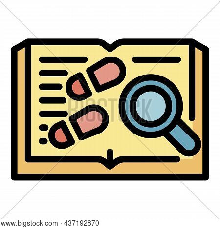 Book Footprints And Magnifier Icon. Outline Book Footprints And Magnifier Vector Icon Color Flat Iso