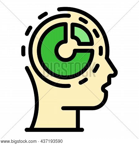 Pie Chart Mind Skill Icon. Outline Pie Chart Mind Skill Vector Icon Color Flat Isolated
