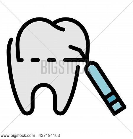 Tooth Treatment Icon. Outline Tooth Treatment Vector Icon Color Flat Isolated