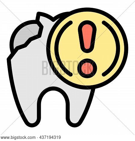 Open Tooth Exclamation Mark Icon. Outline Open Tooth Exclamation Mark Vector Icon Color Flat Isolate