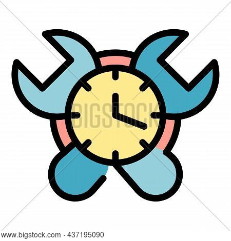 Alarm Clock Repair Icon. Outline Alarm Clock Repair Vector Icon Color Flat Isolated