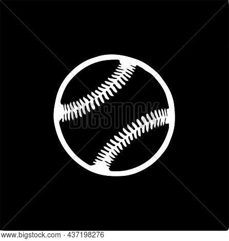 Baseball Icon Isolated On Background Stitches, Symbol, Team, Vector, White