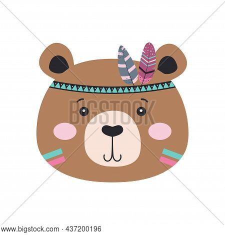 Cute Cartoon Tribal Bear With Feathers Isolated On White Background, Vector Illustration In Scandina