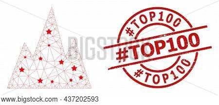 Mountains Star Mesh Net And Grunge Tag Top100 Seal Stamp. Red Stamp With Grunge Surface And Tag Top1