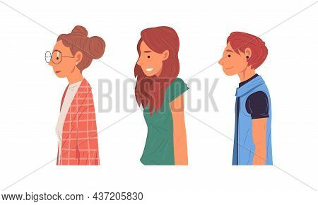 Young Man And Woman Of Different Subculture In Glasses And With Earrings Side View Vector Set