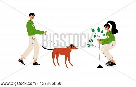 Man And Woman Volunteer Planting Tree And Walking The Dog Engaged In Freely Labour Activity For Comm
