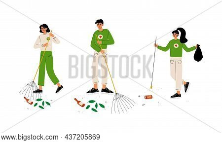 Man And Woman Volunteer Collecting Garbage Engaged In Freely Labour Activity For Community Service V