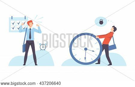 Time Management And Task Planning With Young Man With Clock Organizing His Timeline Vector Set