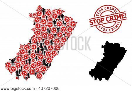 Collage Map Of Castellon Province Composed Of Coronavirus Elements And People Items. Stop Crime Excl