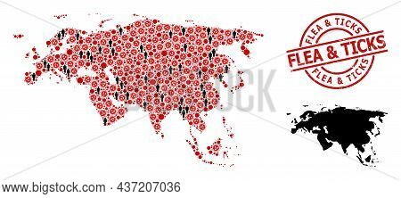 Collage Map Of Europe And Asia Composed Of Sars Virus Icons And Men Icons. Flea And Ticks Distress B