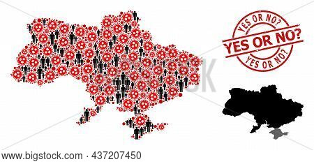 Collage Map Of Ukraine United From Flu Virus Icons And People Icons. Yes Or No Question Textured Sta