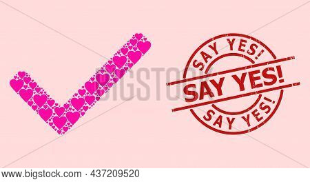 Rubber Say Yes Exclamation Stamp Seal, And Pink Love Heart Collage For Accept Tick. Red Round Stamp
