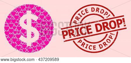 Distress Price Drop Exclamation Stamp Seal, And Pink Love Heart Mosaic For Price. Red Round Stamp Se