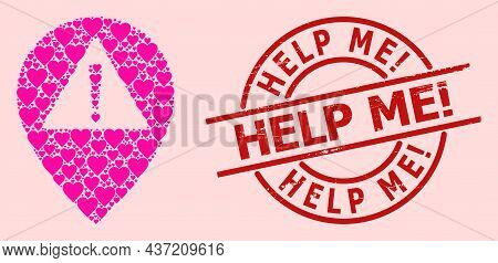 Scratched Help Me Exclamation Seal, And Pink Love Heart Collage For Warning Map Pointer. Red Round S