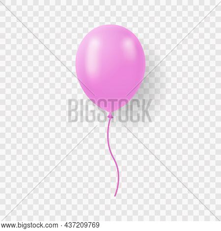 Single Pink Balloon With Ribbon On Transparent Background. Round Air Ball With String. Pink Realisti