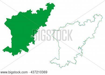 Caraibas Municipality (bahia State, Municipalities Of Brazil, Federative Republic Of Brazil) Map Vec