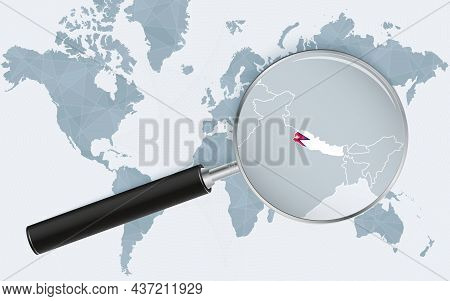 World Map With A Magnifying Glass Pointing At Nepal. Map Of Nepal With The Flag In The Loop. Vector