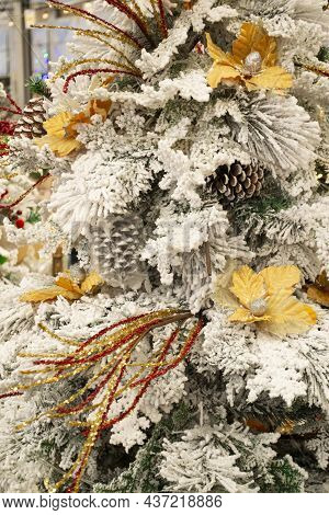 Christmas Decoration. Golden, Silver And White Decor On Christmas Tree Branch. Stylish Christmas Tre