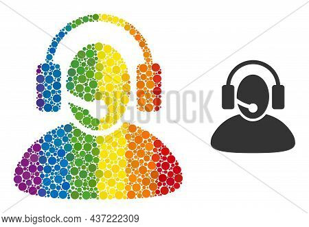 Call Center Operator Mosaic Icon Of Round Items In Variable Sizes And Rainbow Colored Color Hues. A