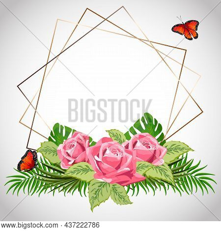 Gold Frame With Roses And Leaves.elegant Vector Illustration With Gold Frame For Text And Decor Of R