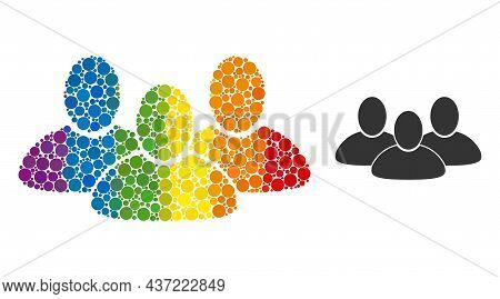 Customer Group Composition Icon Of Round Items In Variable Sizes And Spectrum Color Hues. A Dotted L