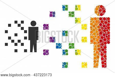 Digital Man Synthesis Mosaic Icon Of Round Items In Different Sizes And Rainbow Colored Color Hues.