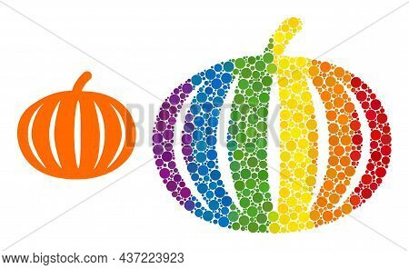 Harvest Pumpkin Composition Icon Of Round Items In Different Sizes And Spectrum Colored Color Tinges