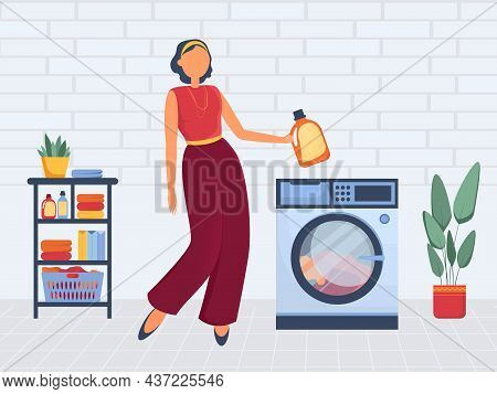 Vector Illustration Woman Washes Dirty Clothes In The Laundry. Washing Machine, Laundry Basket, Laun
