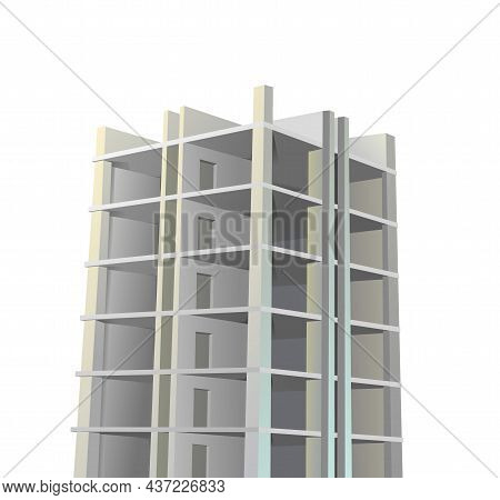Building Construction. Reinforced Concrete Slabs And Floors. Residential House Or Office. Unfinished