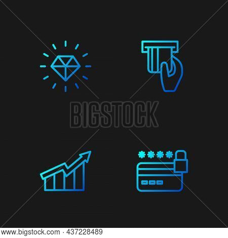 Set Line Credit Card With Lock, Financial Growth Increase, Diamond And Inserted. Gradient Color Icon
