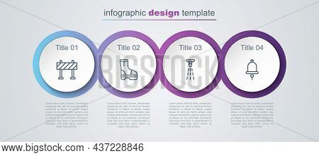 Set Line Road Barrier, Fire Boots, Sprinkler And Ringing Alarm Bell. Business Infographic Template.