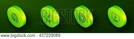 Set Isometric Line Global Energy Power Planet, Location With Leaf, Power Button And Lightning Bolt I