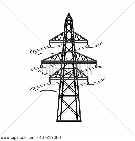 Vector Illustration Of Pillar And Energetic Logo. Web Element Of Pillar And Station Stock Symbol For