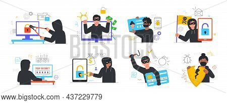 Hacker Activity Concept. Collection Of Characters Stealing Personal Information, Money, Online Passw