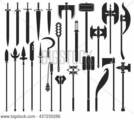 Medieval Weapon Isolated Black Set Icon. Vector Black Set Icon Knight Sword. Vector Illustration Med