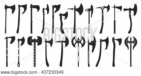 Medieval Axe Vector Black Set Icon. Vector Illustration Medieva Weapon On White Background. Isolated