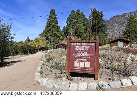 OAK GLEN, CALIFORNIA - 10 OCT 2021: Sign at the Wildlands Conservancy Oak Glen Preserve in the foothills of the San Bernardino Mountains.