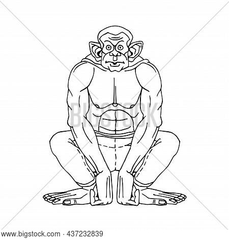 Chimpanzee In Jeans, Squatting. A Funny Character. Vector Illustration With Black Contour Lines Isol