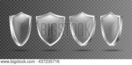 Shield It Protect. 3d Crystal True Transparent Protection Symbol, Light Shielding Guard Design, Vect