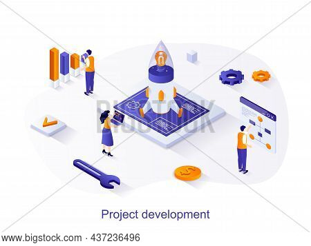 Project Development Isometric Web Concept. People Launch Startup, Create And Develop New Business, S