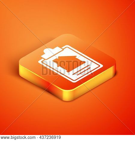 Isometric House Contract Icon Isolated On Orange Background. Contract Creation Service, Document For