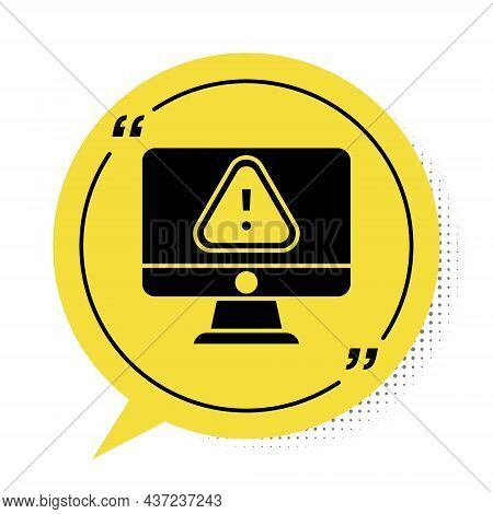 Black Computer Monitor With Exclamation Mark Icon Isolated On White Background. Alert Message Smartp