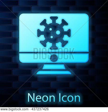 Glowing Neon Virus Statistics On Monitor Icon Isolated On Brick Wall Background. Corona Virus 2019-n