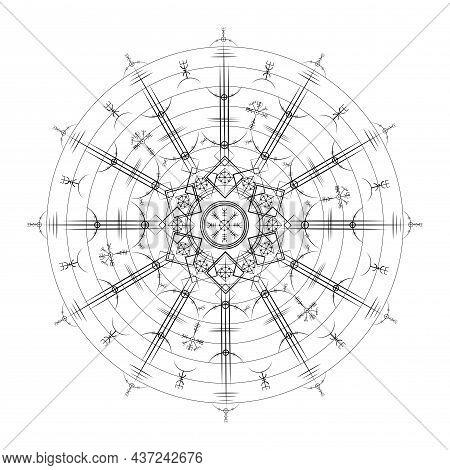 Magic Ancient Viking Art Deco, Vegvisir Magic Navigation Compass Ancient. Mandala Vikings Used Many