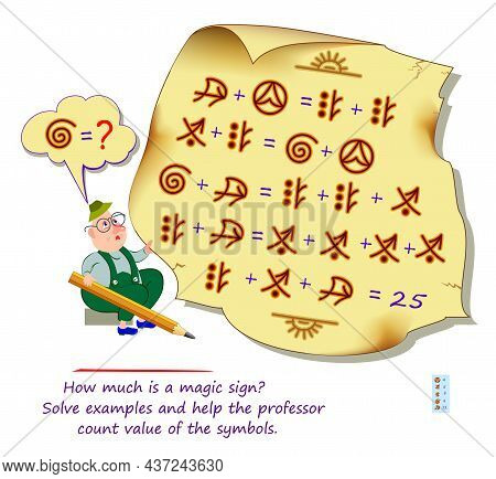 Mathematical Logic Puzzle Game For Smartest. How Much Is A Magic Sign? Solve Examples And Help The P