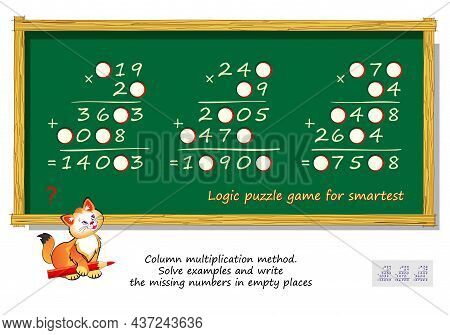 Mathematical Logic Puzzle Game For Smartest. Column Multiplication Method. Solve Examples And Write